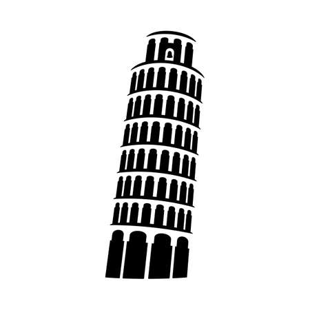 Tower of Pisa sign. Architectural monument black icon. Italian miracle symbol vector illustration.