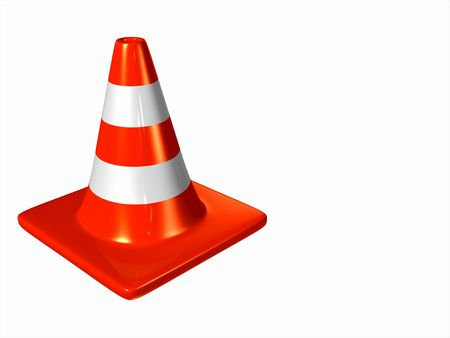 motoring: Two orange traffic cones isolated on a white background Stock Photo