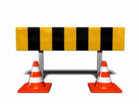 peril: construction and caution sign, with two traffic cones