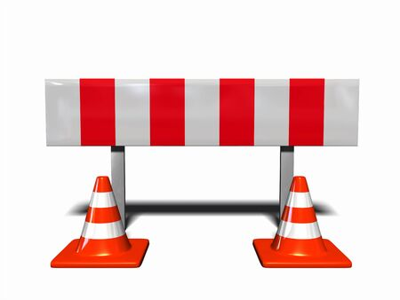 peril: construction and caution sign, with 2 traffic cones
