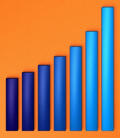 positives: Blue chart growing up, on orange background