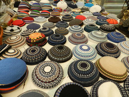 jewish star: Yarmulkes in the market