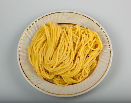 outflow: Yellow spaghettis with a saffron in a plate with nacreous outflow.