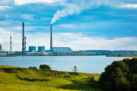 thermal power-station. spring landscape in a countryside. Russia, the Ryazan region.