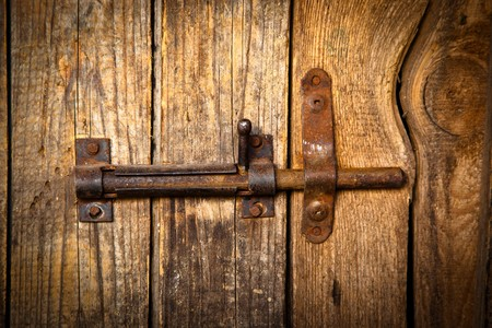 pawl: Door closed on a latch. Stock Photo