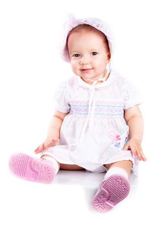 buoyant: Baby in studio against a white background. Stock Photo