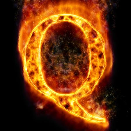 q: Fire letter Q Stock Photo