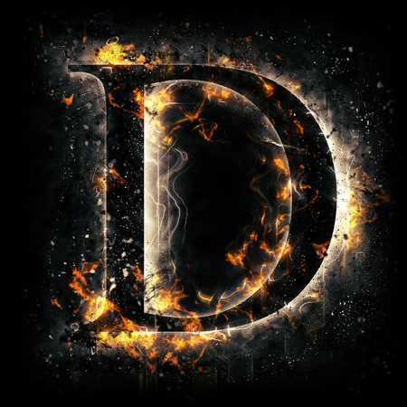 flame letters: Fire letter D