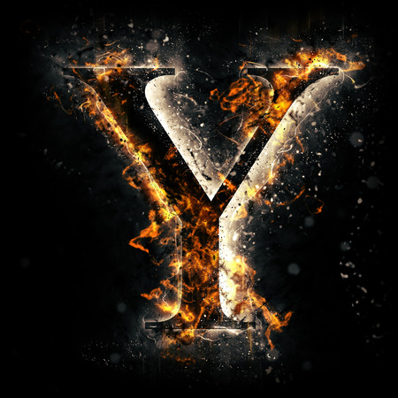 fire background: Fire letter Y Stock Photo