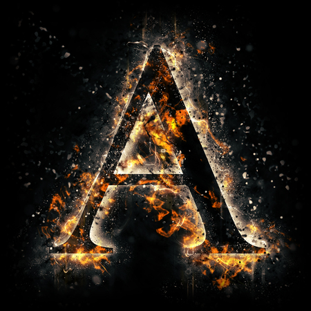 fire font: Fire letter A Stock Photo