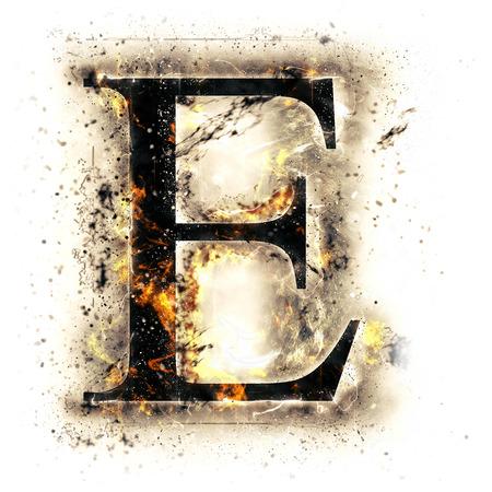 Fire letter E Stock Photo