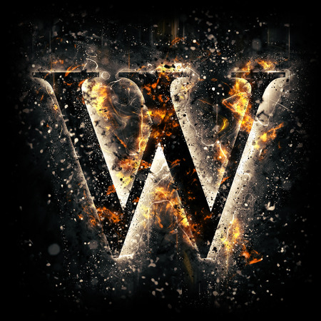 Fire letter W Фото со стока