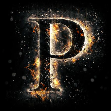 flame alphabet: Fire letter P