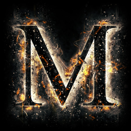 yellow shine: Fire letter M Stock Photo