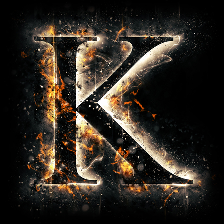 flame letters: Fire letter K