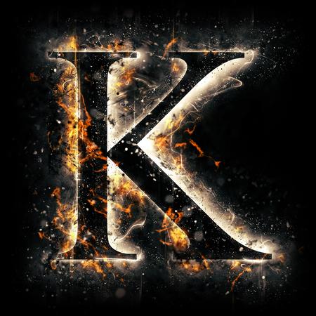 flame alphabet: Fire letter K