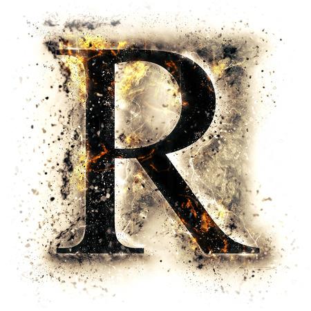 Feuer-Buchstabe R Standard-Bild - 44912617