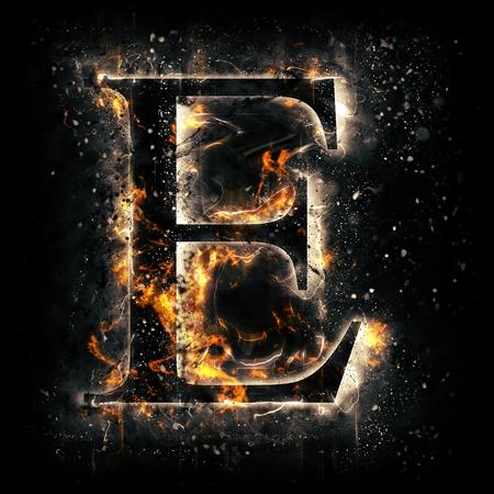 Fire letter E 免版税图像