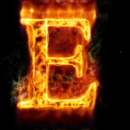 flame letters: Fire letter E Stock Photo