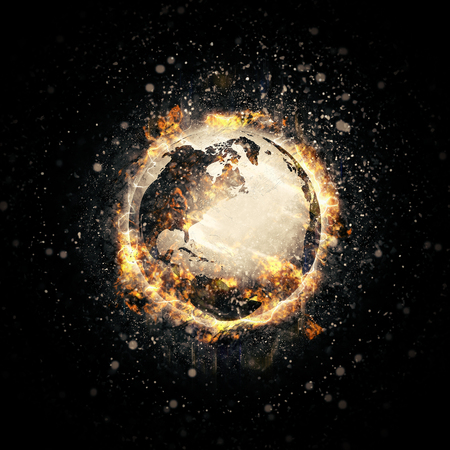 end of world: Earth in fire Stock Photo