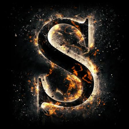 Feuer-Buchstabe S Standard-Bild - 44912374