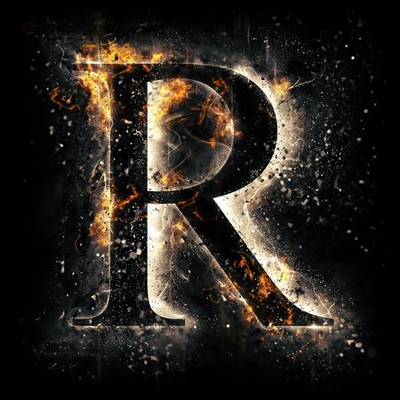 Feuer-Buchstabe R Standard-Bild - 44912393