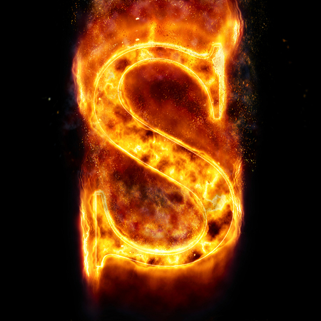 flame letters: Fire letter S