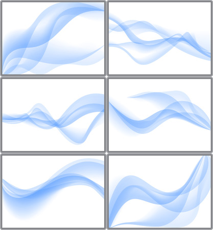 Set of blue abstract waves