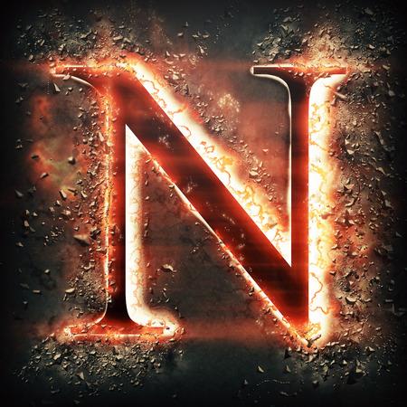 hot stones: Red light letter N