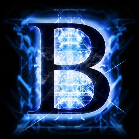 letras negras: Azul abstracto de la letra B Foto de archivo