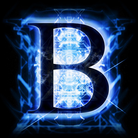 electric blue: Blue Abstract Letter B Stock Photo