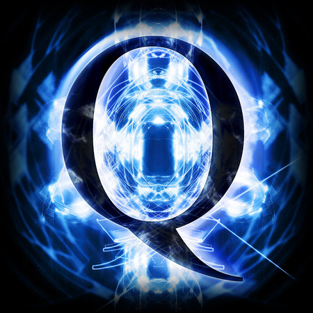 illuminated: Blue Abstract Letter Q