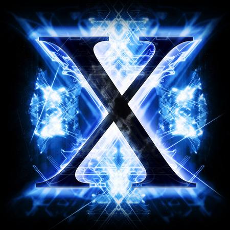 tipos de letras: Azul extracto de la carta X Foto de archivo