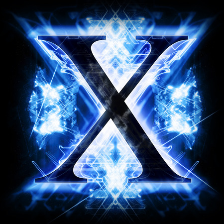 neon light: Blue Abstract Letter X