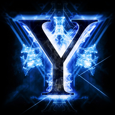 neon light: Blue Abstract Letter Y