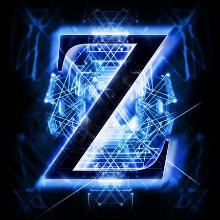 black light: Blue Abstract Letter Z Stock Photo