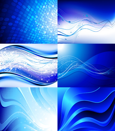 waves abstract: Set of futuristic backgrounds