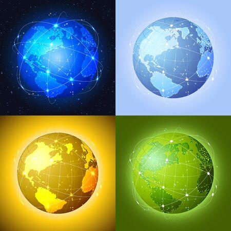 Comunicazione globale concetto globi Vettoriali