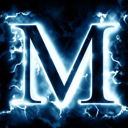 Lightning letter M 写真素材