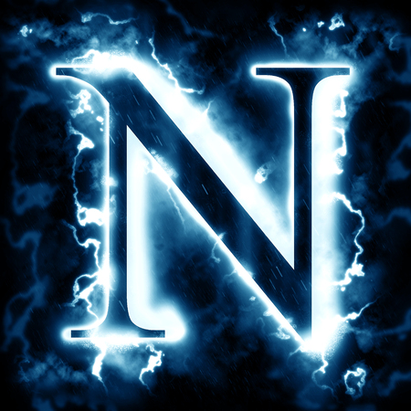 electric blue: Lightning letter N Stock Photo