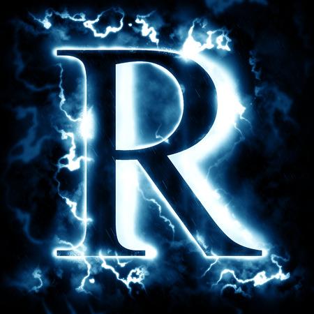 r: Lightning letter R