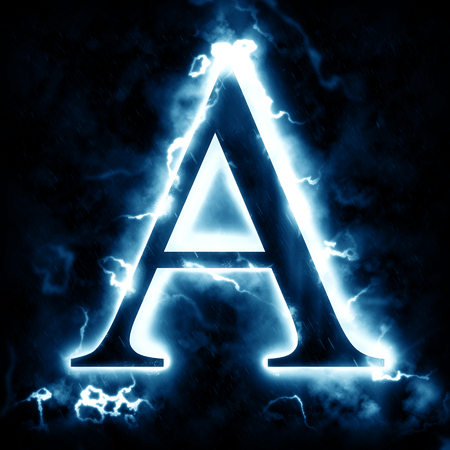 electric blue: Lightning letter A Stock Photo