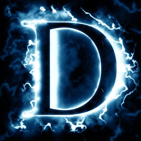 d: Lightning letter D