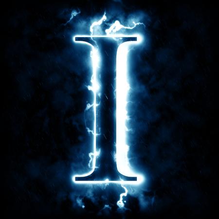 Lightning letter I 免版税图像