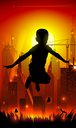 evening glow: Jumping boy on background of the cityscape