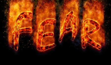 fear: Burning word fear Stock Photo