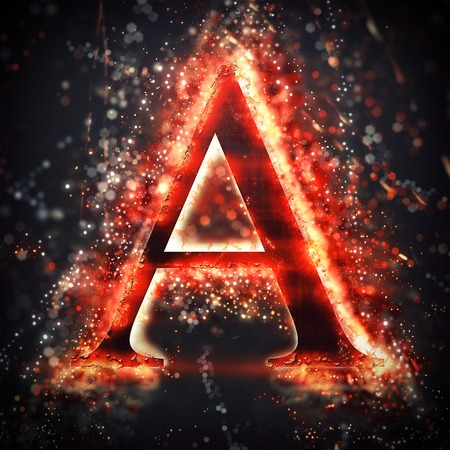 neon letter: Red light letter A Stock Photo