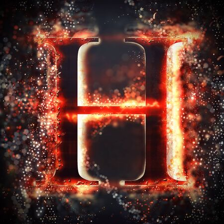 fiery: Red light letter H Stock Photo