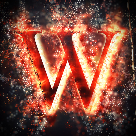 letter w: Red light letter W