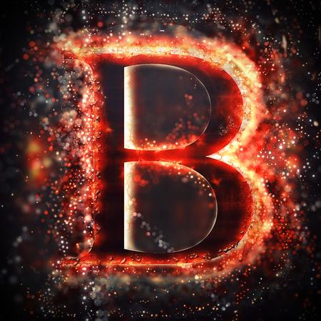 letter alphabet: Red light letter B